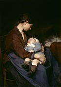 Mother And Young Framed Prints - La Mere Framed Print by Elizabeth Nourse