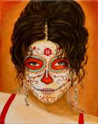 Portrait Of Woman Metal Prints - La Muerte Elegante Metal Print by Al  Molina