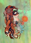 Girl Mixed Media Prints - La Muerte Print by Kate Collins