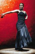 Black Painting Posters - La Nobleza del Flamenco Poster by Richard Young