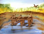 Waterfowl Paintings - LA Oil Spill by Edgar Verdin
