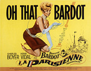Bardot Framed Prints - La Parisienne, Brigitte Bardot, 1957 Framed Print by Everett