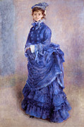 Purple Dress Posters - La Parisienne The Blue Lady  Poster by Pierre Auguste Renoir