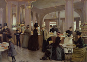 Cafe Scene Paintings - La Patisserie by Jean Beraud