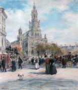 Dog Walking Pastels Framed Prints - La Place de Trinite Framed Print by Jean Francois Raffaelli