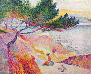 Signed Framed Prints - La Plage de Saint-Clair Framed Print by Henri-Edmond Cross