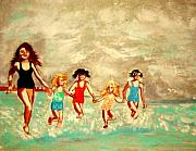 Enfants Painting Posters - La Plage Poster by Rusty Woodward Gladdish