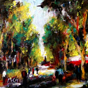 Provence Paintings - La Promenade Beziers City France by K McCoy