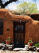 Santa Fe Prints - La puerta marron vieja - The old brown door Print by Kurt Van Wagner