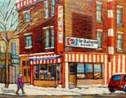 Winter Scenes Paintings - La Quebecoise Restaurant Deli by Carole Spandau