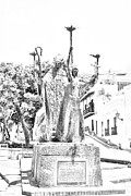 Rogativa Posters - La Rogativa Sculpture Old San Juan Puerto Rico Black and White Line Art Poster by Shawn OBrien