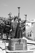 Rogativa Posters - La Rogativa Sculpture Old San Juan Puerto Rico Black and White Poster by Shawn OBrien
