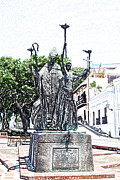 Rogativa Posters - La Rogativa Sculpture Old San Juan Puerto Rico Colored Pencil Poster by Shawn OBrien
