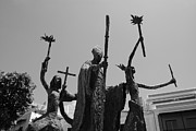 San Juan Metal Prints - La Rogativa Statue Old San Juan Puerto Rico Black and White Metal Print by Shawn OBrien