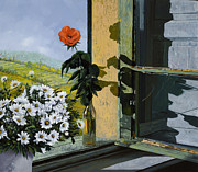 Bed Prints - La Rosa Alla Finestra Print by Guido Borelli