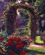 Rose Garden Paintings - La Rosaeraie de Bagatelle by David Lloyd Glover