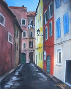 France Doors Painting Prints - La Rue Print by Erin Wildsmith