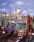 Gondola Framed Prints - La Salute Framed Print by Guido Borelli