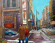 Montreal Streets Paintings - La Senza Downtown Montreal by Carole Spandau