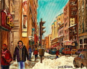 Montreal Landmarks Paintings - La Senza St Catherine Street Downtown Montreal by Carole Spandau