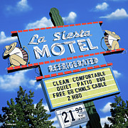 Motel Painting Prints - La Siesta Motel Print by Anthony Ross