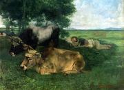 Meadow Paintings - La Siesta Pendant la saison des foins by Gustave Courbet