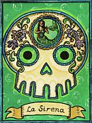 La Sirena Calavera Loteria Print by Maryann Luera