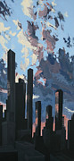 Los Angeles Skyline Paintings - LA Skyline Dawn Number Two by Bradley Reyes