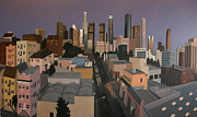Los Angeles Skyline Paintings - LA Skyline Dusk Number One by Bradley Reyes