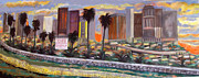 Los Angeles Skyline Paintings - LA Skyline by May Art is Amy Koch Johnson