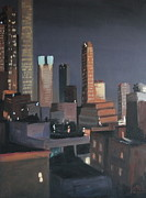 Los Angeles Skyline Paintings - LA Skyline Night Number One by Bradley Reyes