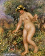 Full-length Portrait Metal Prints - La Source or Gabrielle Nue Metal Print by Pierre Auguste Renoir