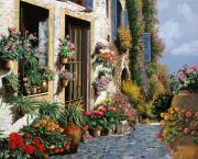 Blue Doors Framed Prints - La Strada Del Lago Framed Print by Guido Borelli