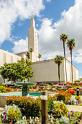 Latter-day-saints Posters - LA Temple Gardens Poster by La Rae  Roberts