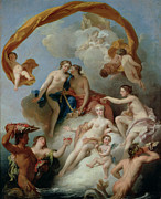Mythological Framed Prints - La Toilette de Venus Framed Print by Francois Lemoyne
