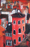Brown House Pastels Prints - La Tour Rose In Lyon 1 Print by EMONA Art