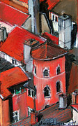 Brown House Pastels Prints - La Tour Rose In Lyon 2 Print by EMONA Art