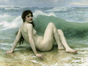 Naked Metal Prints - La Vague Metal Print by William Adolphe Bouguereau