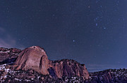 Natural Landmark Prints - La Ventana Arch With The Orion Print by John Davis