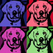 Dog Pop Art Paintings - Lab Face by Dean Russo