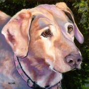 Retriever Drawings Posters - Lab One of a Kind Poster by Susan A Becker
