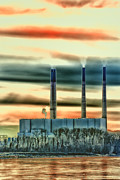 Golden Sky Framed Prints - Labadie Power Plant Framed Print by Bill Tiepelman
