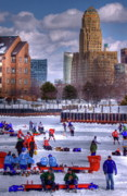 City Hall Photo Framed Prints - Labatt Pond Hockey 2011 Framed Print by Don Nieman
