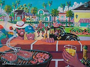American Flag Painting Originals - Labor Day Venice Style by Frank Strasser