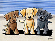 Cartoon Art Posters - Labrador Beach Trio Poster by Kim Niles