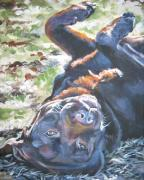 Chocolate Lab Prints - Labrador retriever chocolate fun Print by L A Shepard