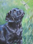 Black Lab Puppy Paintings - Labrador Retriever pup and dragonfly by L A Shepard