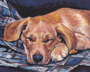 Sleeping Art - Labrador Retriever sleeping pup by Lee Ann Shepard