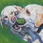 Tennis Posters - Labrador Retriever Yellow Buddies Poster by L A Shepard