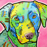 Graffiti Mixed Media Metal Prints - Labrador Vintage Metal Print by Dean Russo